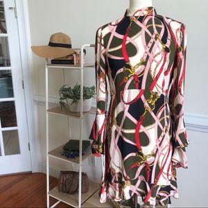 Zara belt print dress flare ruffle sleeve Medium